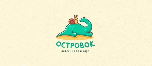 30个恐龙元素创意logo设计 欣赏-第25张