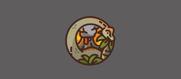 30个恐龙元素创意logo设计 欣赏-第28张