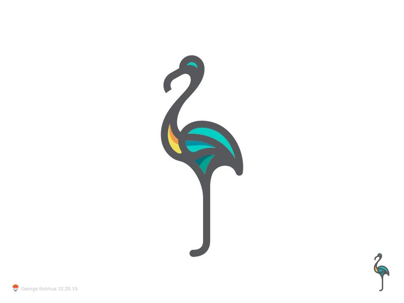 火烈鸟元素logo 欣赏-第9张