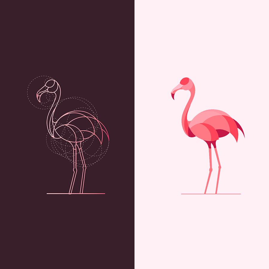 火烈鸟元素logo 欣赏-第6张