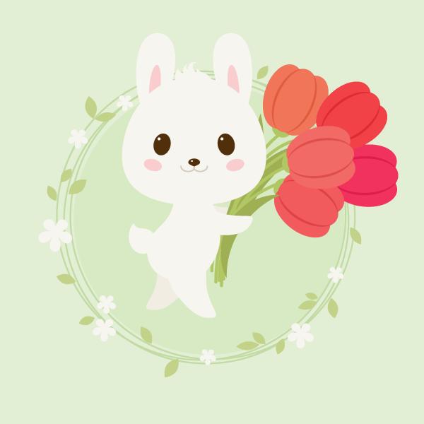 手把手教你用Ai绘制拿着郁金香的可爱兔子 教程-第1张