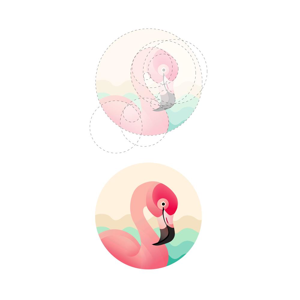 火烈鸟元素logo 欣赏-第8张