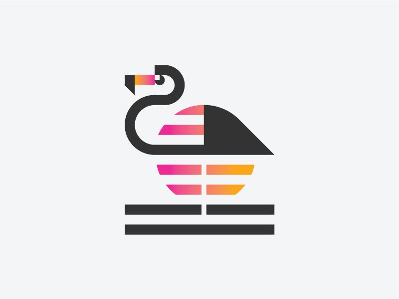 火烈鸟元素logo 欣赏-第11张