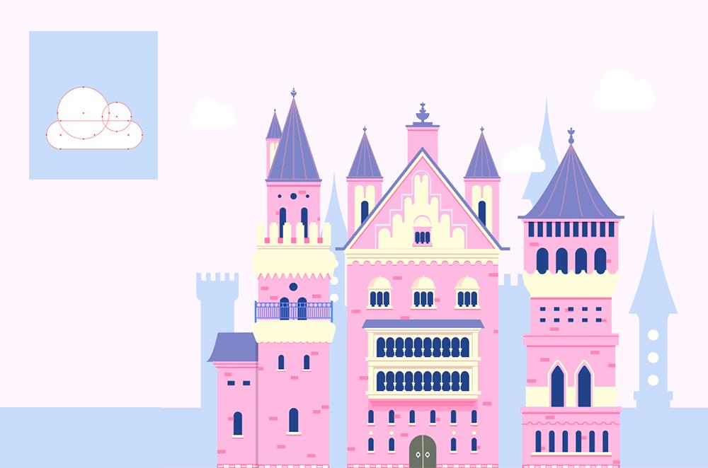 梦幻童话!绘制细节丰富的水上城堡群像 教程-第26张