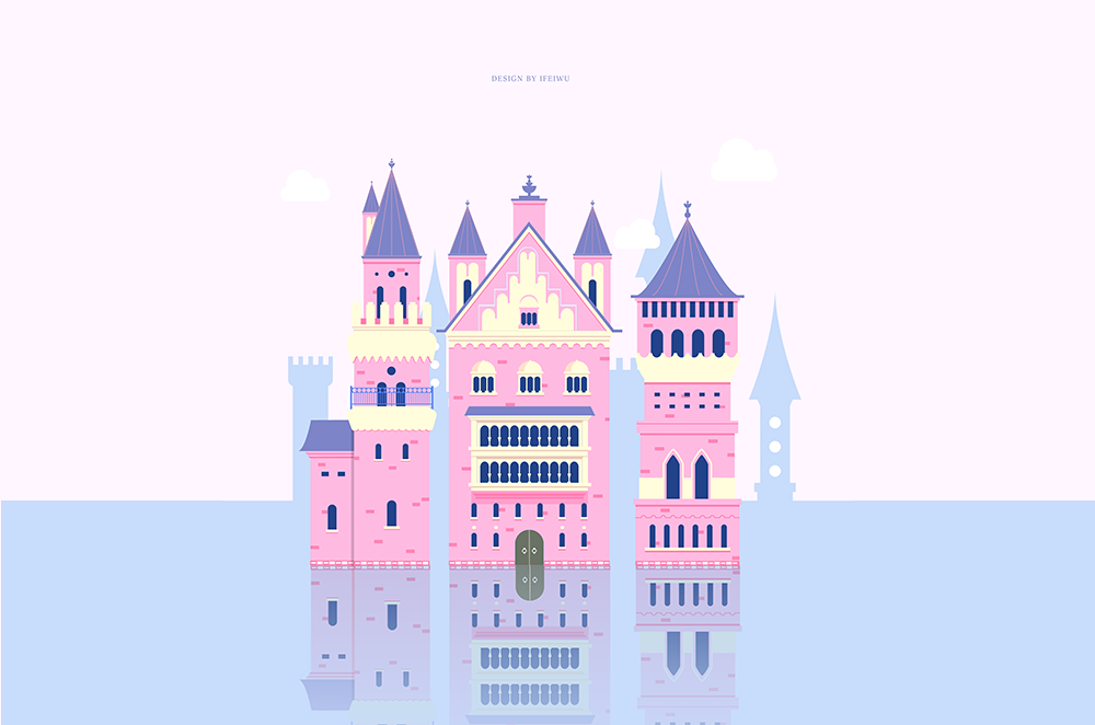 梦幻童话!绘制细节丰富的水上城堡群像 教程-第27张