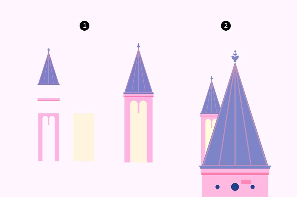梦幻童话!绘制细节丰富的水上城堡群像 教程-第11张