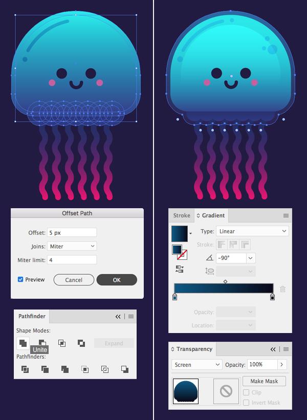 只要10个步骤在Adobe Illustrator中绘制可爱的发光水母 教程-第11张