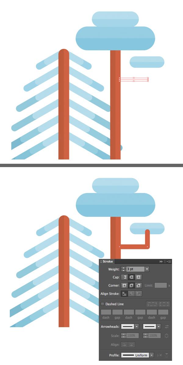用Adobe Illustrator绘制一个扁平化冬季森林雪景 教程-第9张