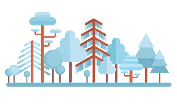 用Adobe Illustrator绘制一个扁平化冬季森林雪景 教程-第23张