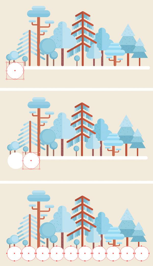 用Adobe Illustrator绘制一个扁平化冬季森林雪景 教程-第24张