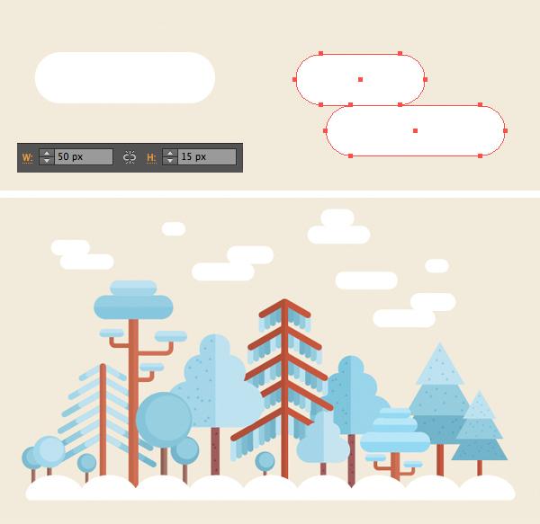 用Adobe Illustrator绘制一个扁平化冬季森林雪景 教程-第27张