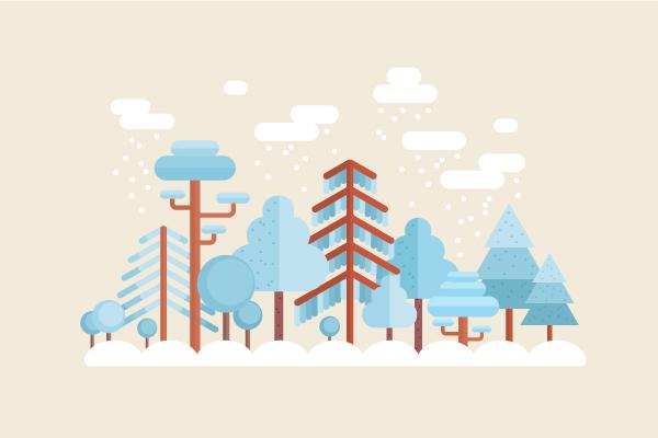 用Adobe Illustrator绘制一个扁平化冬季森林雪景 教程-第28张