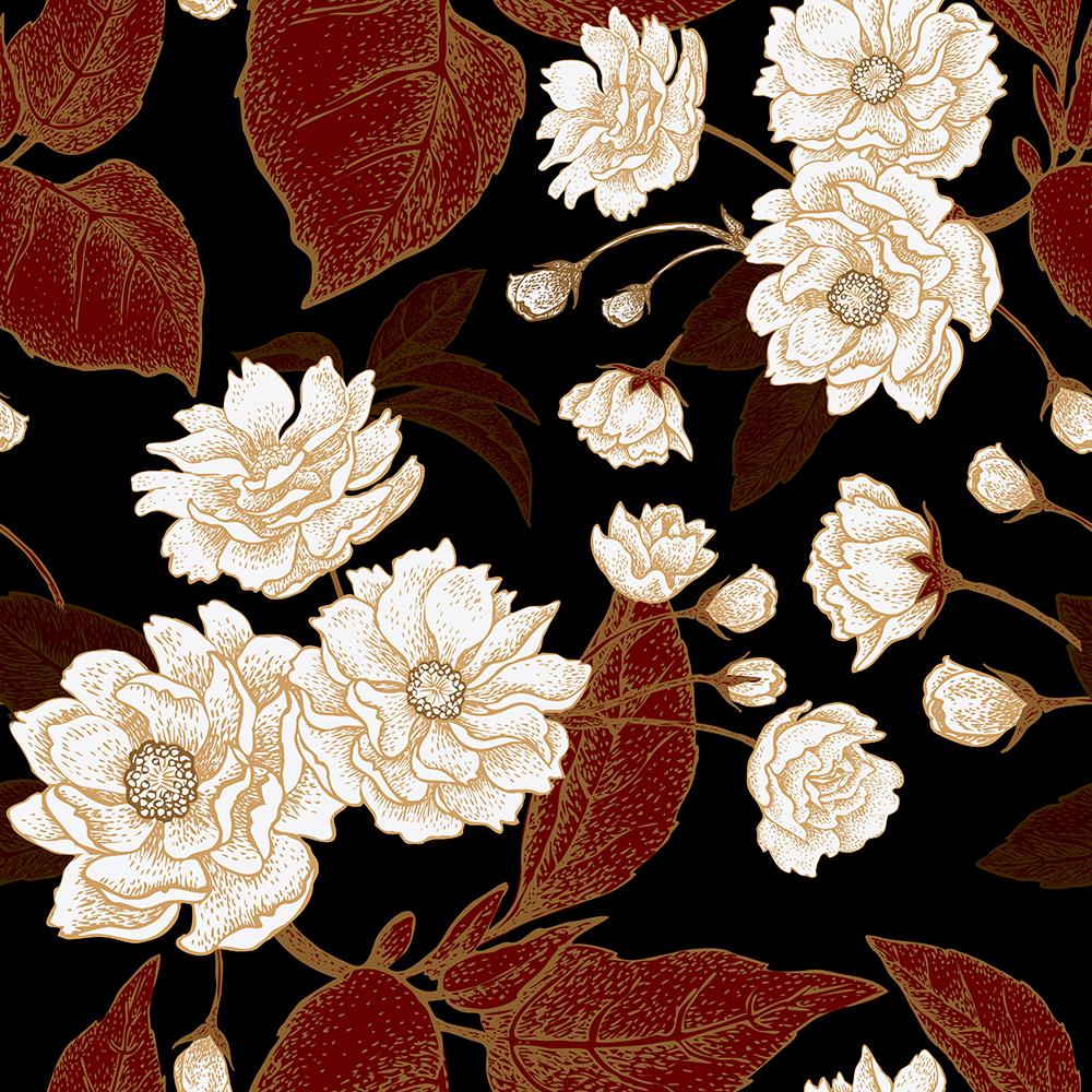 10张中国风工笔高档复古花卉矢量背景 元素-第7张