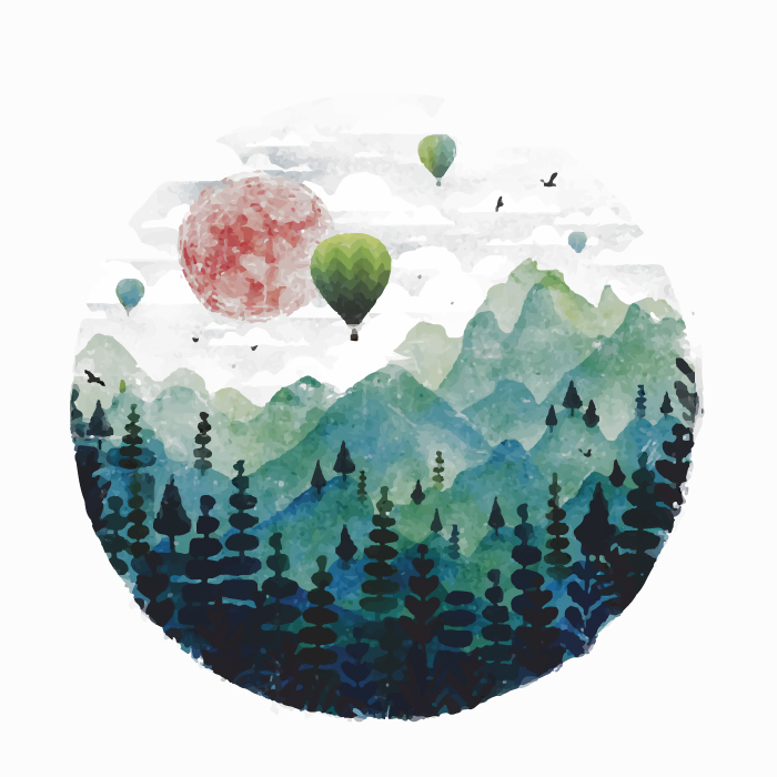 18张手绘中国风水墨圆形AI矢量素材 插画-第1张