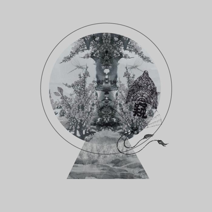 18张手绘中国风水墨圆形AI矢量素材 插画-第4张