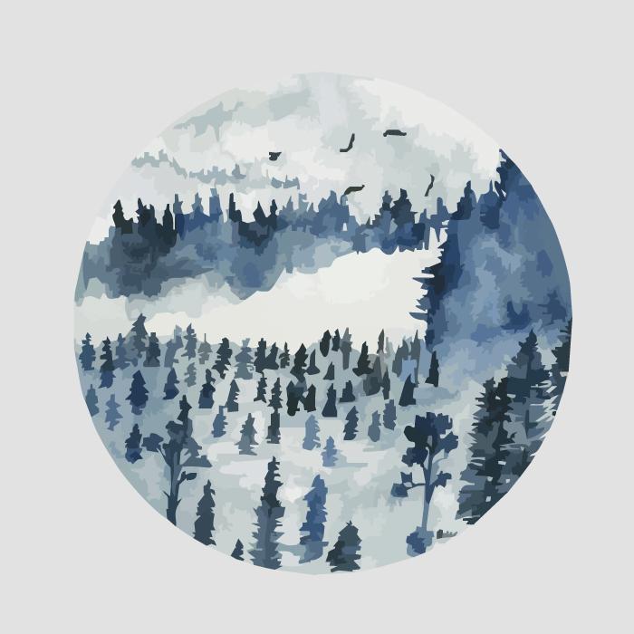 18张手绘中国风水墨圆形AI矢量素材 插画-第5张