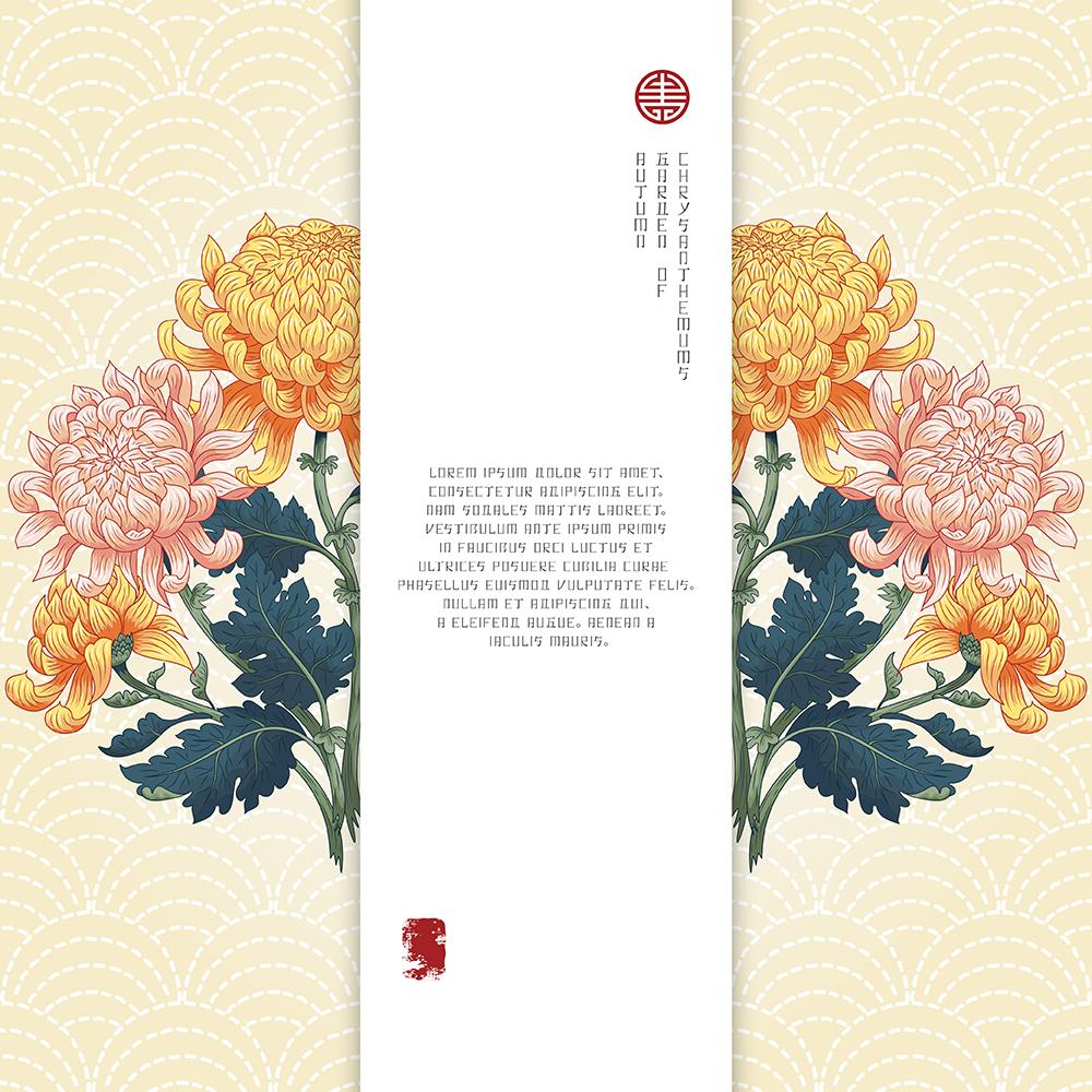 20张古典中国风手绘菊花矢量背景 元素-第12张