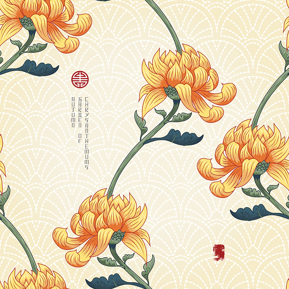 20张古典中国风手绘菊花矢量背景 元素-第16张