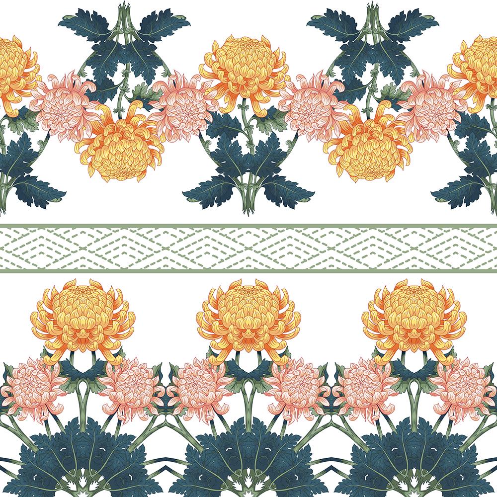 20张古典中国风手绘菊花矢量背景 元素-第17张