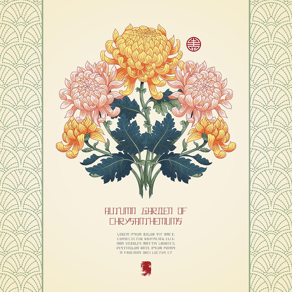 20张古典中国风手绘菊花矢量背景 元素-第18张