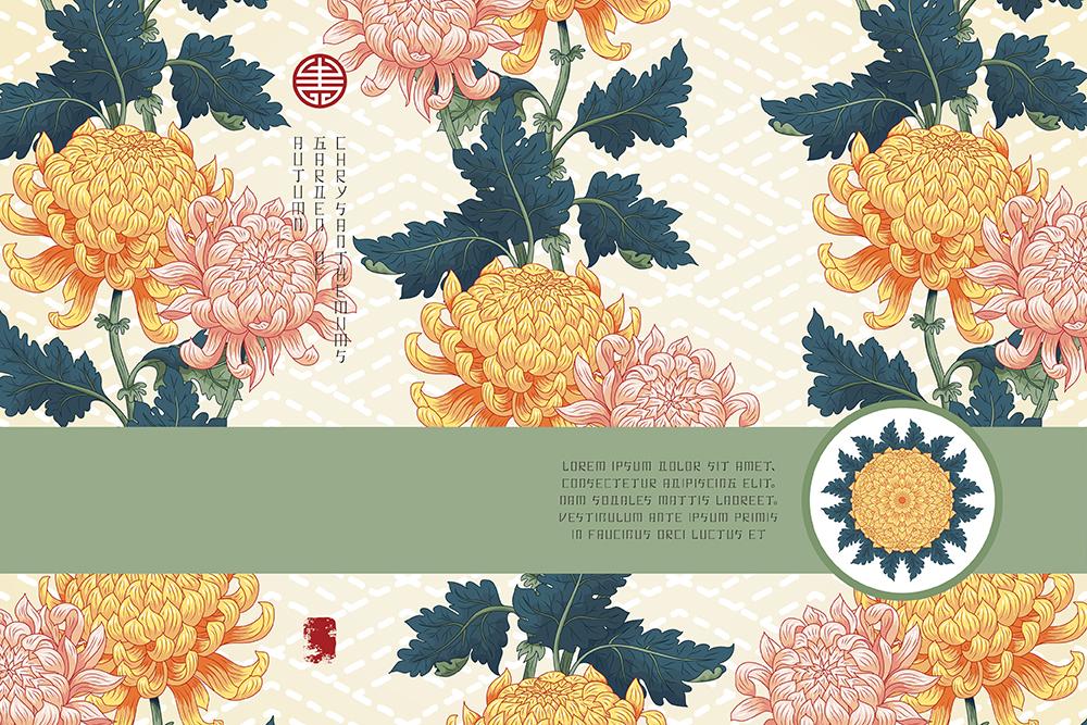 20张古典中国风手绘菊花矢量背景 元素-第19张