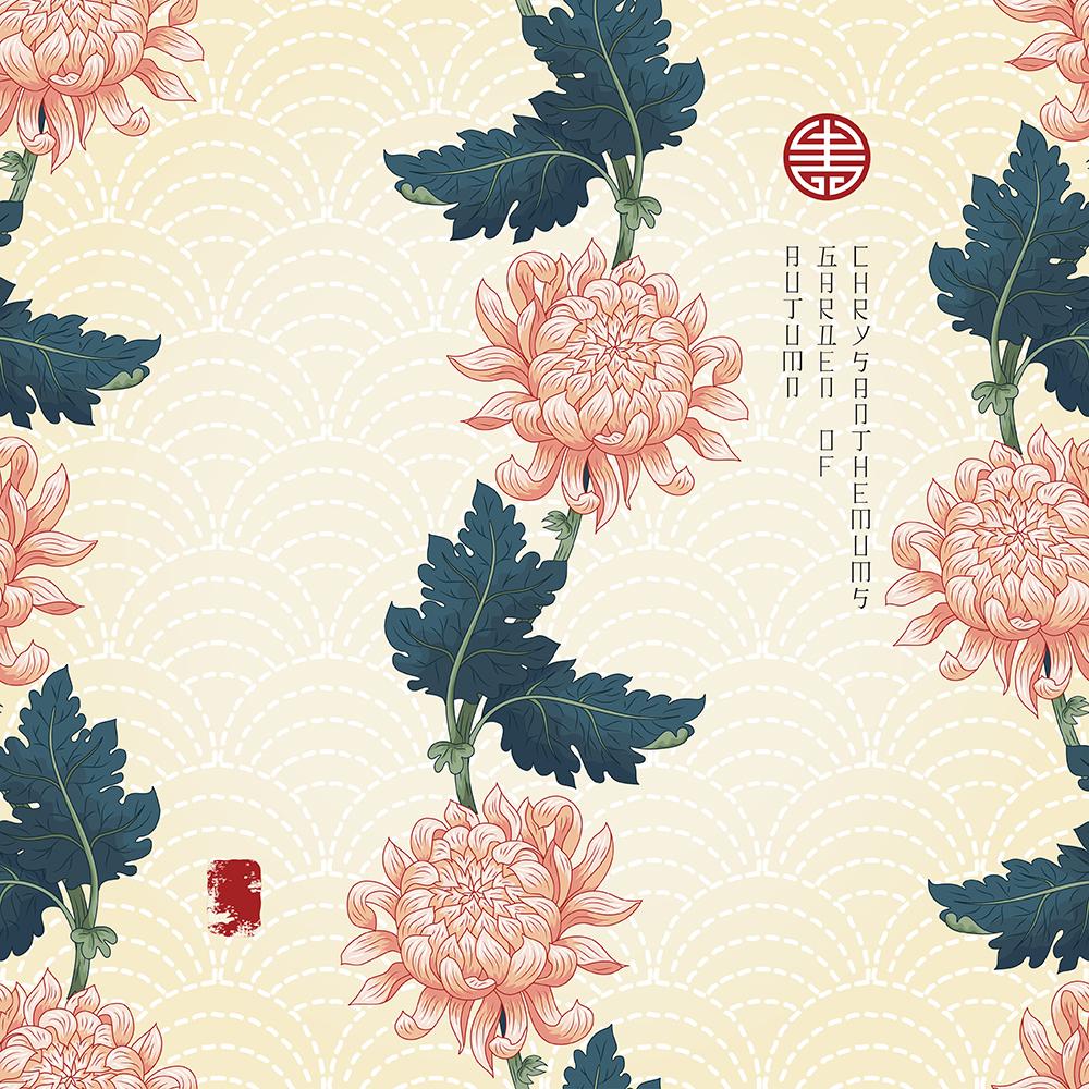 20张古典中国风手绘菊花矢量背景 元素-第5张