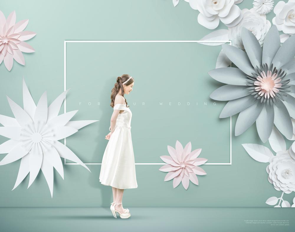 立体剪纸花朵psd分层设计素材