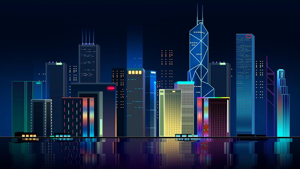 扁平城市渐变高楼风景素材 元素-第15张