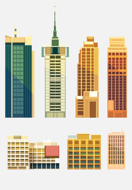 扁平城市渐变高楼风景素材 元素-第16张
