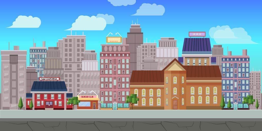 扁平城市渐变高楼风景素材 元素-第20张