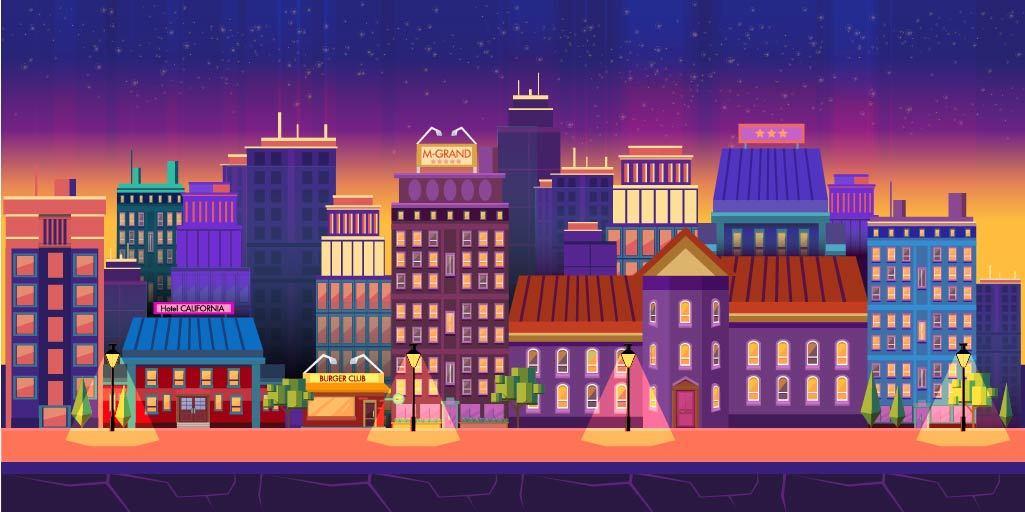 扁平城市渐变高楼风景素材 元素-第22张