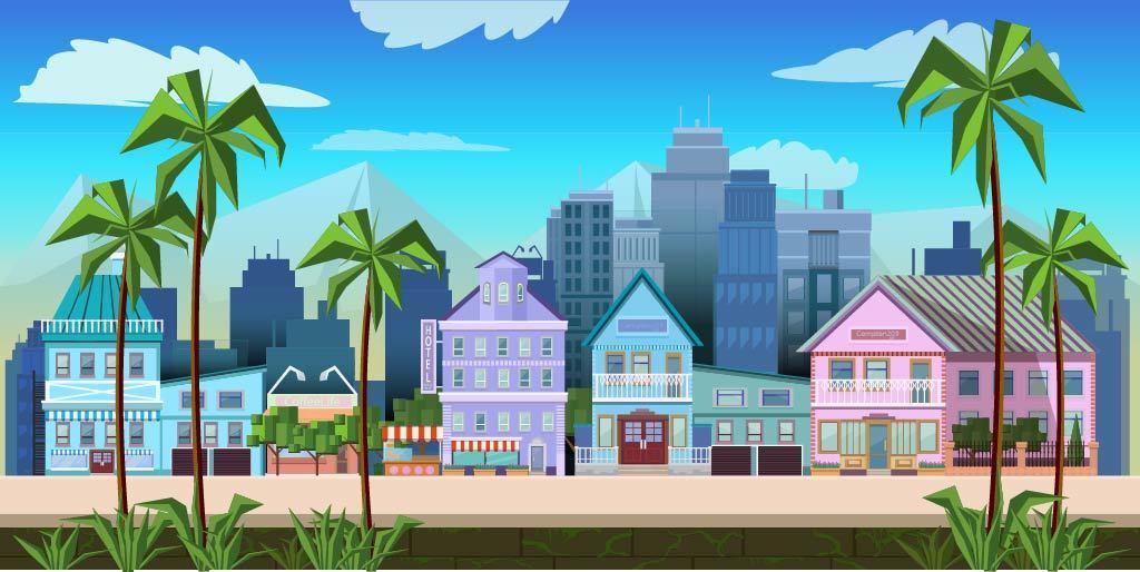 扁平城市渐变高楼风景素材 元素-第23张