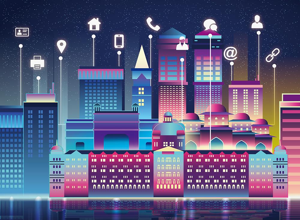 扁平城市渐变高楼风景素材 元素-第1张