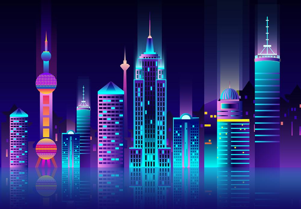扁平城市渐变高楼风景素材