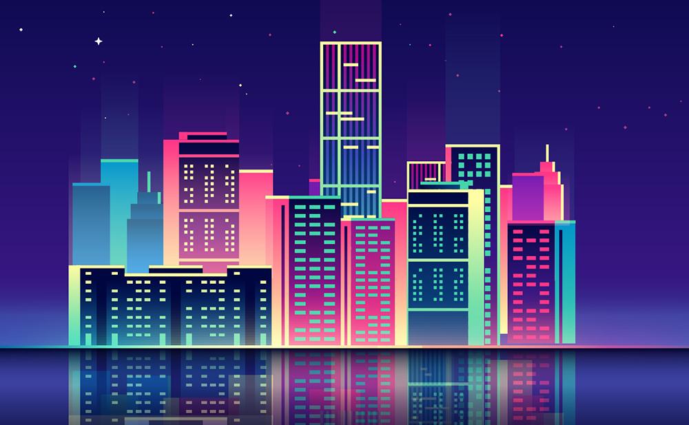 扁平城市渐变高楼风景素材 元素-第7张