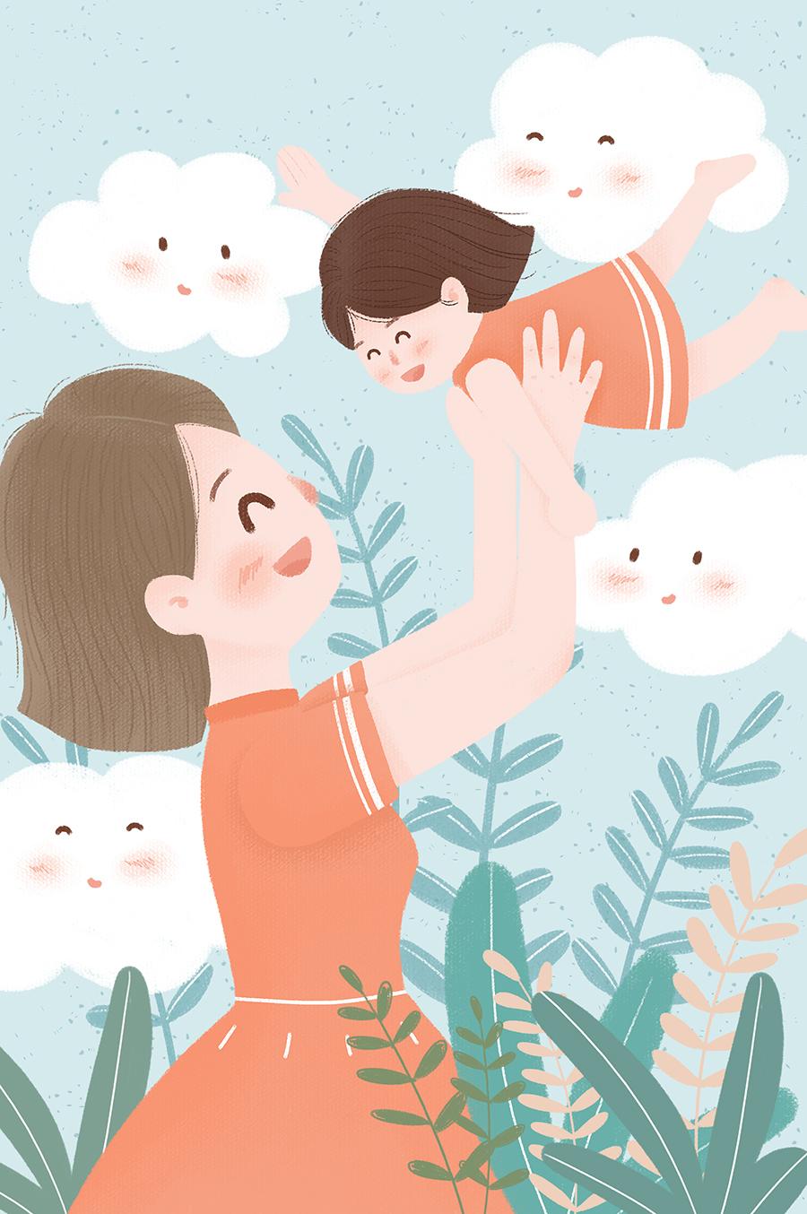 清新卡通手绘母亲节插画素材 插画-第18张