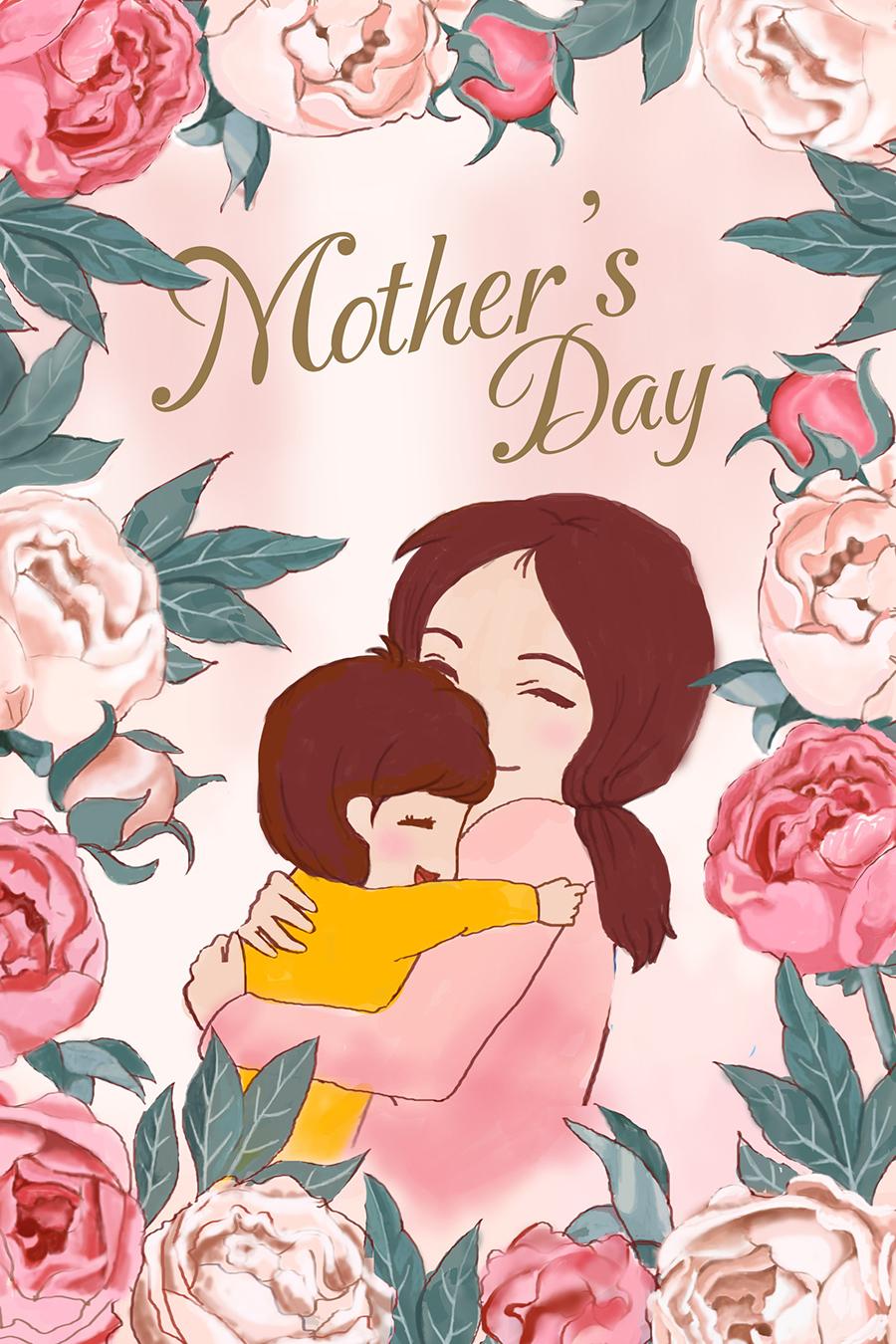 清新卡通手绘母亲节插画素材 插画-第2张