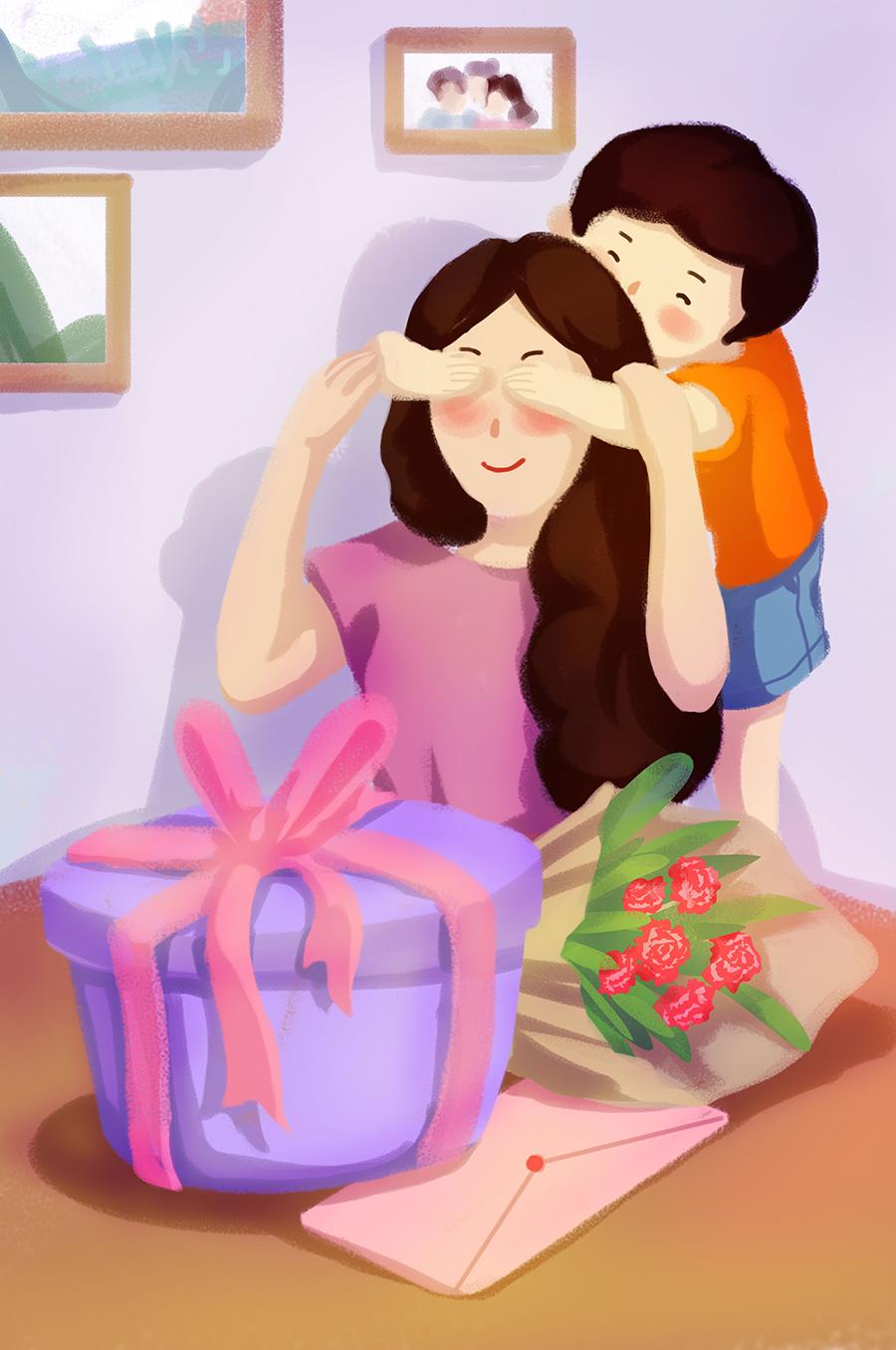 清新卡通手绘母亲节插画素材
