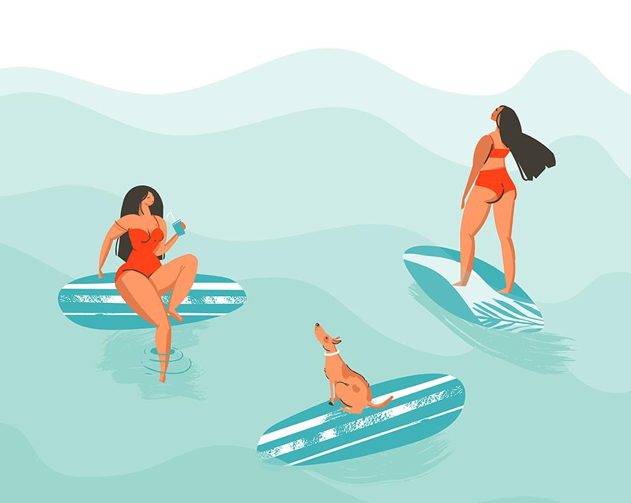 夏日海滩矢量手绘元素 元素-第4张