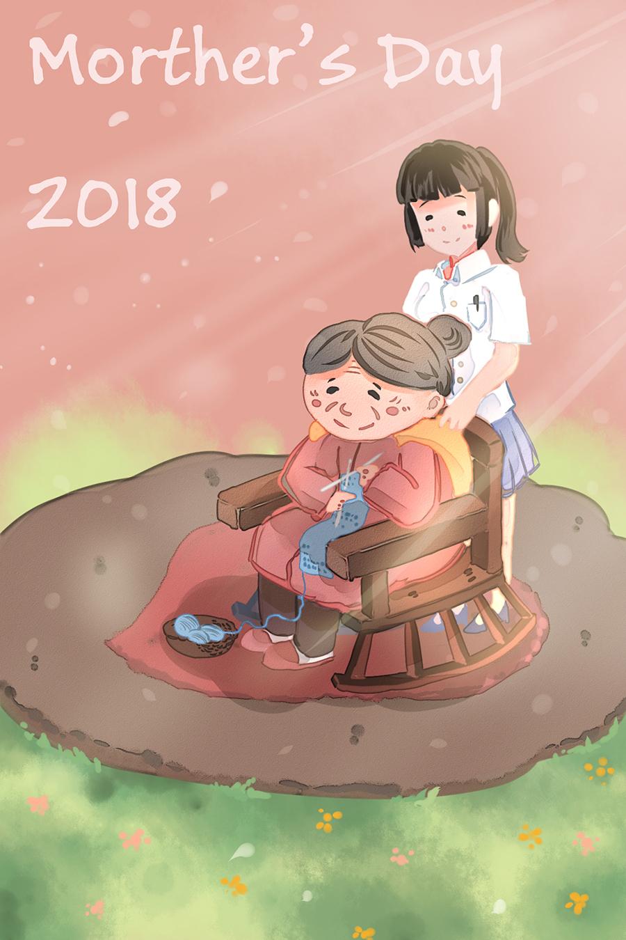清新卡通手绘母亲节插画素材 插画-第6张
