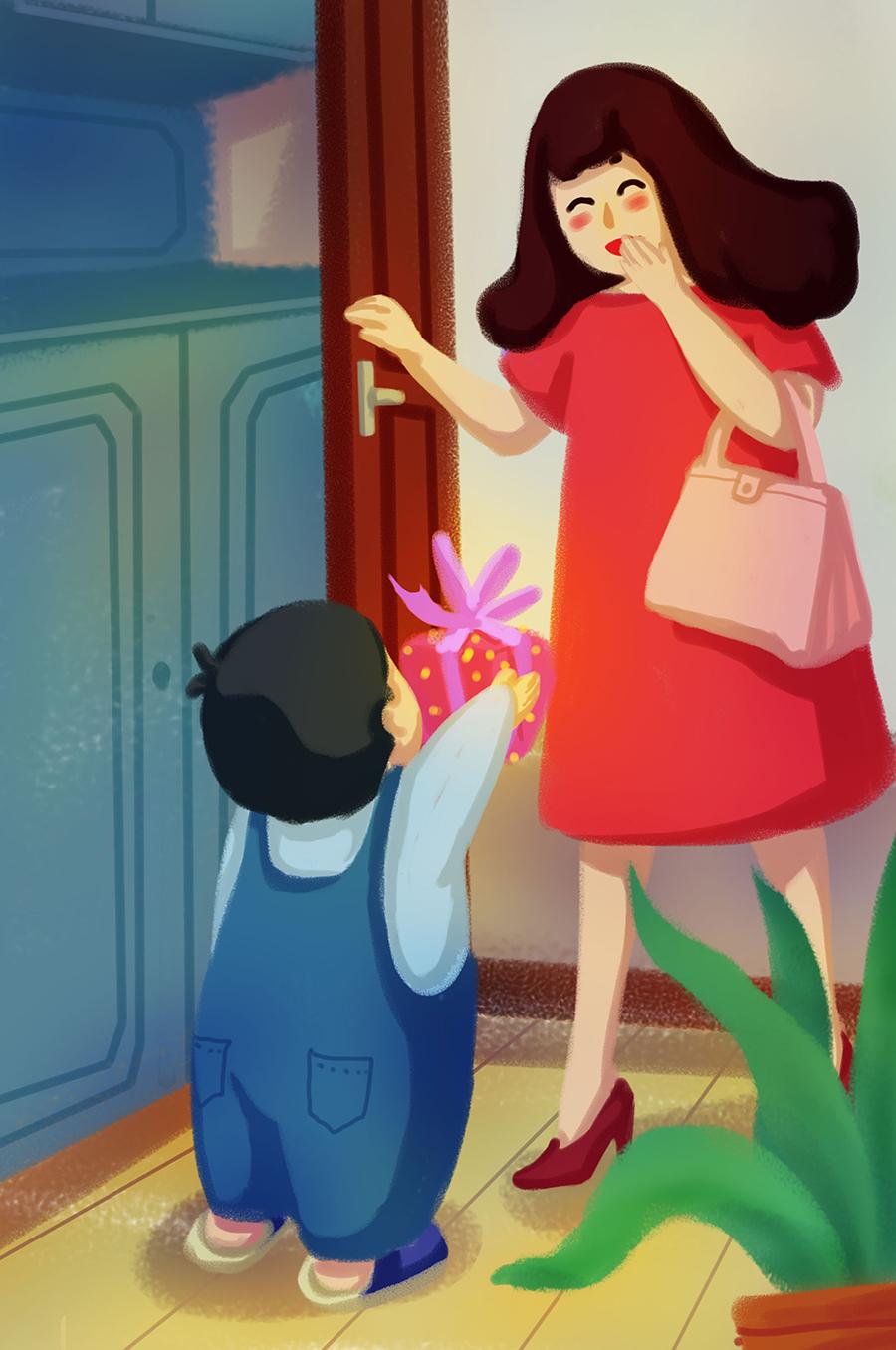 清新卡通手绘母亲节插画素材 插画-第8张