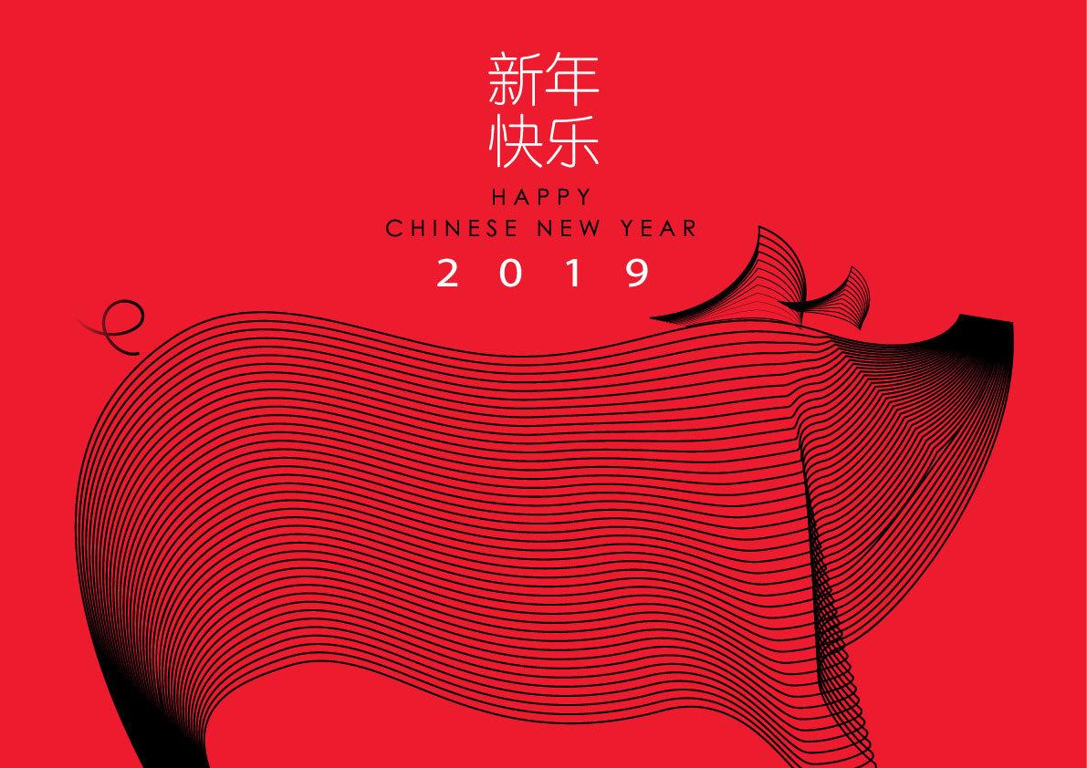 2019猪年新年春节创意矢量素材 元素-第2张