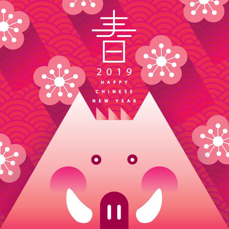 2019猪年新年春节创意矢量素材 元素-第3张