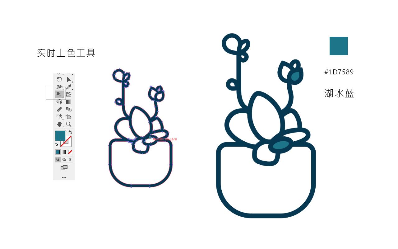 绘制一枚多肉植物扁平风线体插画 教程-第11张