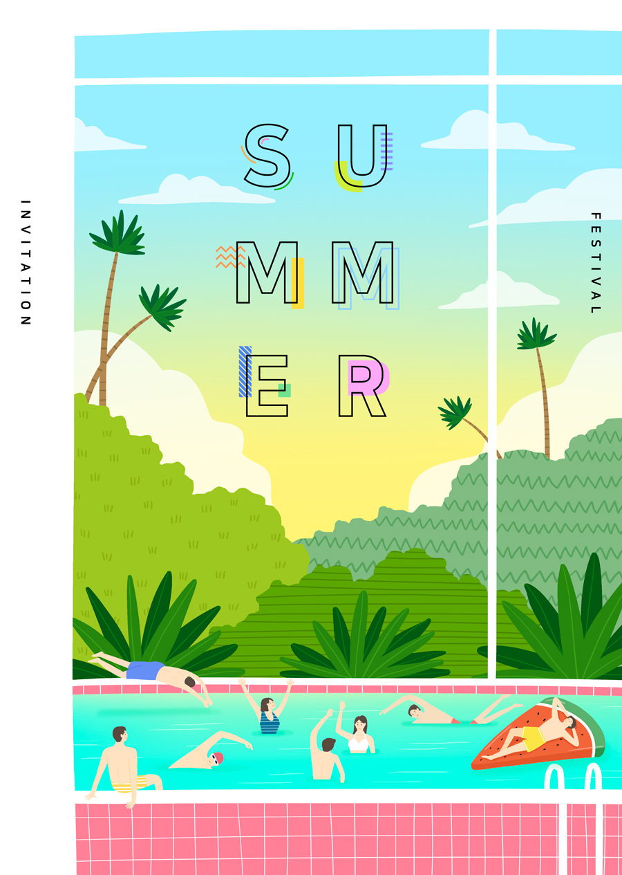 唯美夏季风景插画海报PSD素材 资源-第1张