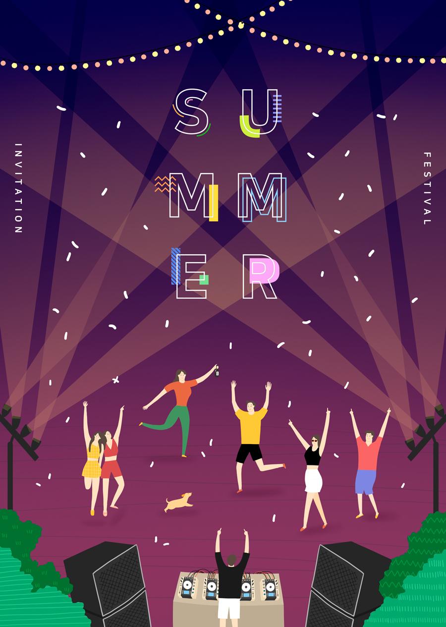 唯美夏季风景插画海报PSD素材 资源-第4张