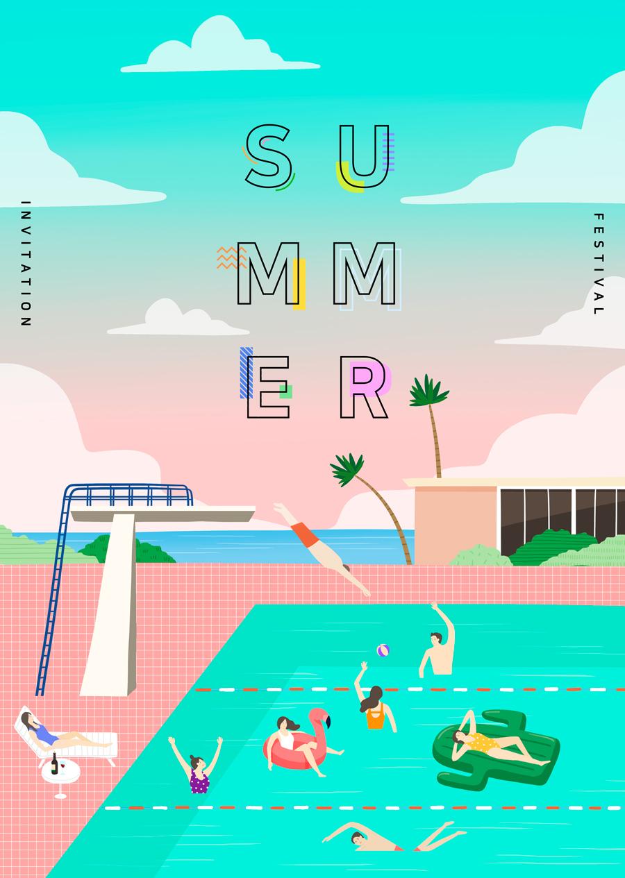 唯美夏季风景插画海报PSD素材 资源-第6张
