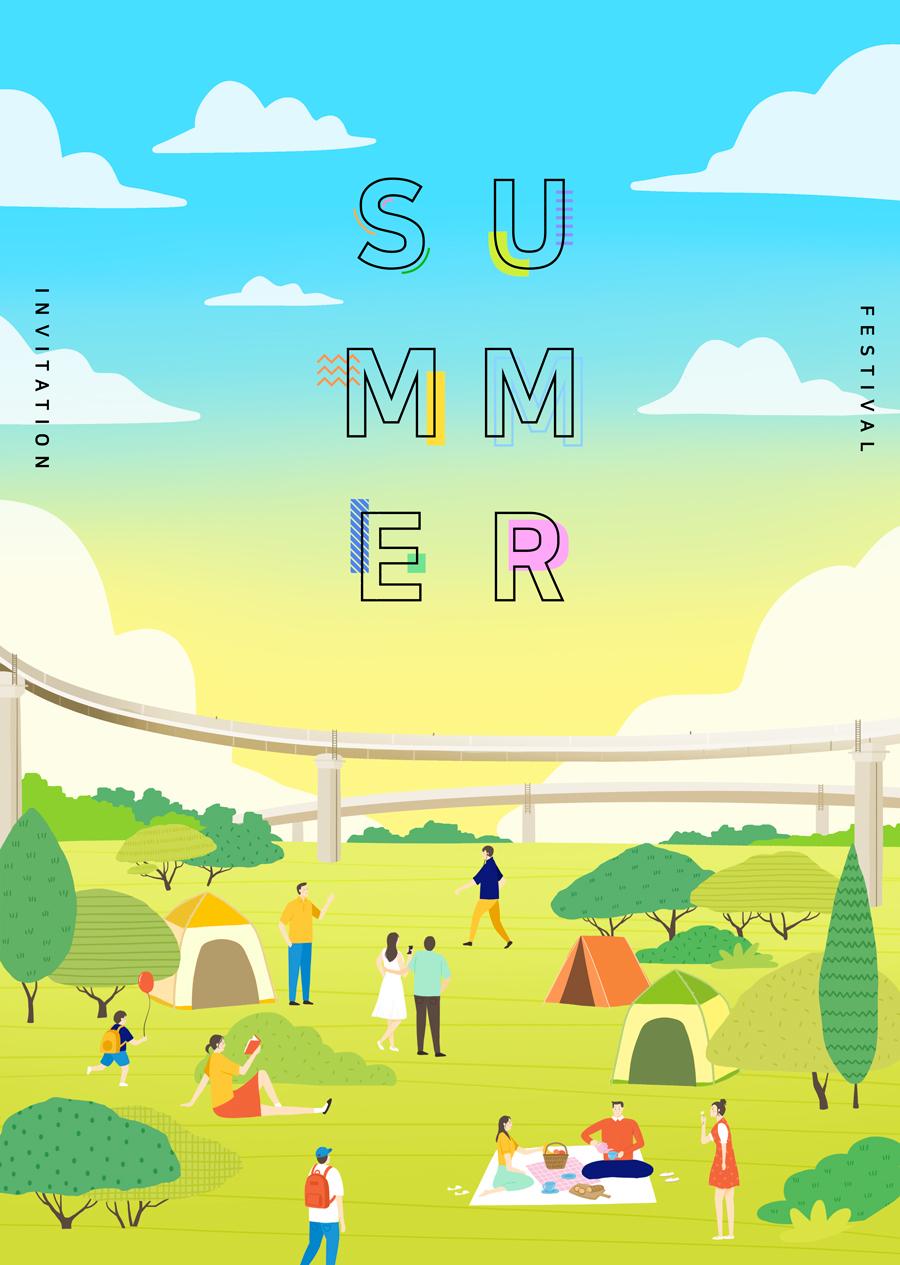 唯美夏季风景插画海报PSD素材 资源-第11张