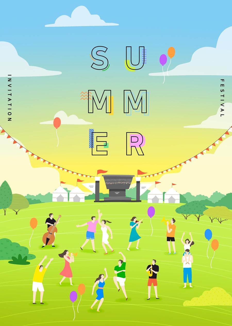 唯美夏季风景插画海报PSD素材 资源-第12张