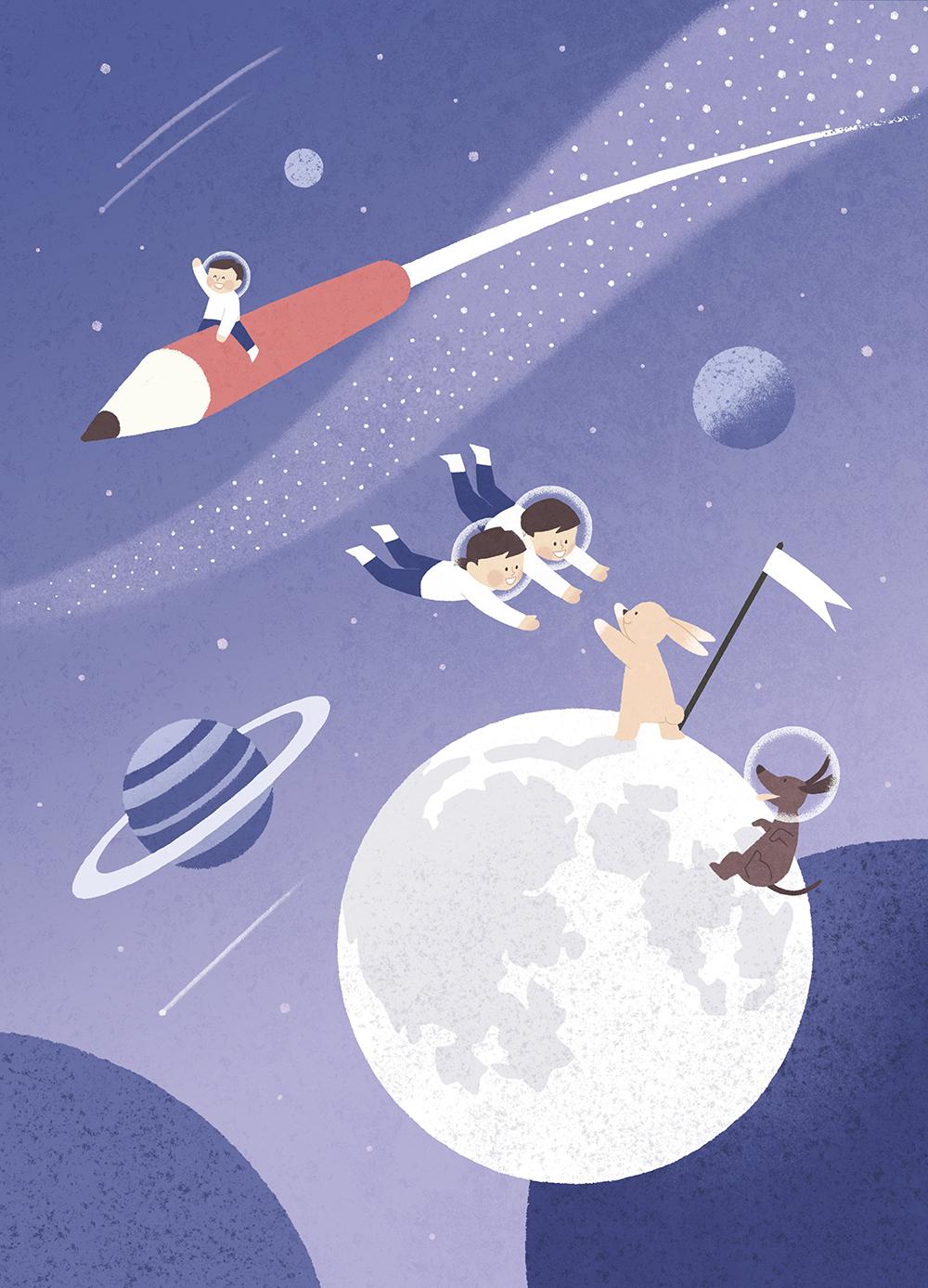 儿童梦想宇宙手绘背景插画PSD素材 插画-第2张